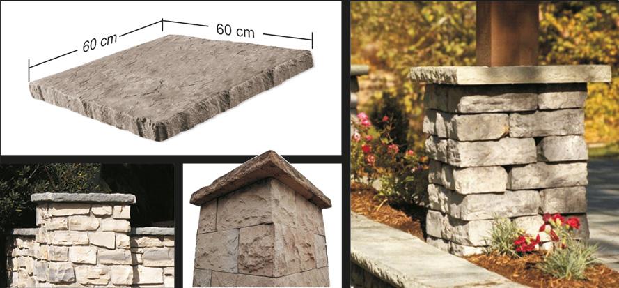 Toppsten för mur Snapped edge postcap