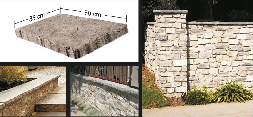 Snapped edge wallcap en toppsten för mur